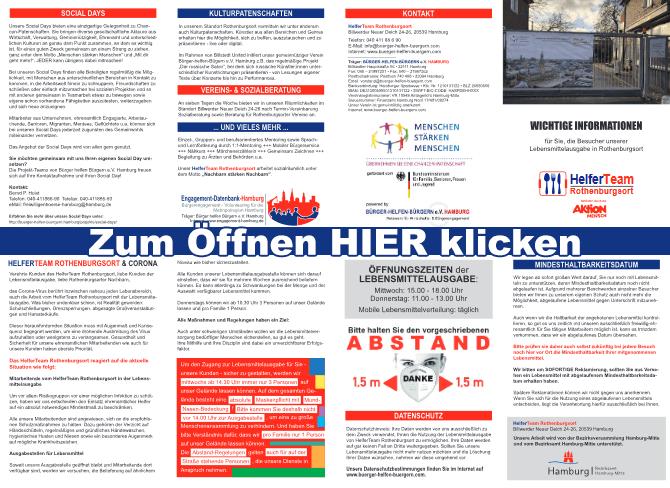 Flyer: HelferTeam Rothenburgsort & Corona, Öffnungszeiten, Datenschutz, Mindesthaltbarkeit